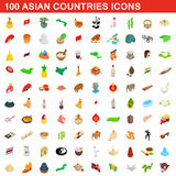 100 Asian countries icons set, isometric 3d style. 100 Asian countries icons set in isometric 3d style for any design vector illustration Stock Photography