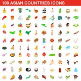 100 Asian countries icons set, isometric 3d style. 100 Asian countries icons set in isometric 3d style for any design illustration royalty free illustration