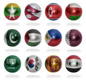 Asian countries (From M to S) flag balls Stock Images