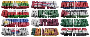 Asian countries (From M to S) flag words Stock Photography