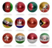 Asian countries (From A to I) flag balls Royalty Free Stock Photo