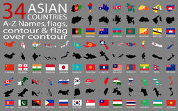 34 Asian Countries - A-Z Names, flags, contour and map over contour Stock Photos