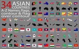 34 Asian Countries - A-Z Names, flags, contour and map over contour. Vector Stock Photos
