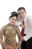 Asian couple. Wearing traditional dress on white background Royalty Free Stock Photography