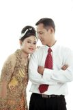 Asian couple. Wearing traditional dress on white background Royalty Free Stock Images