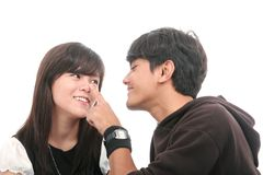 Asian couple. Touch noise by finger Stock Photos