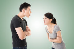Asian couple argue. Closeup portrait with two people Royalty Free Stock Photos