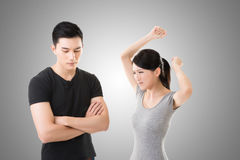 Asian couple argue. Closeup portrait with two people Stock Photos