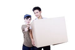 Asian couple and box - isolated Royalty Free Stock Photos