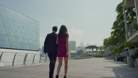 Asian couple in business attire slow motion stock video