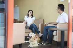 Asian couple at cafe. With their pets Royalty Free Stock Image