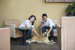 Asian couple at cafe. With their pets Stock Photos