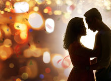 Asian couple celebrate new year eve Stock Images
