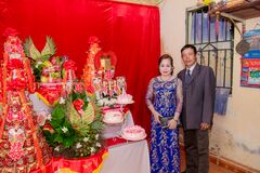 Asian couple at celebration Royalty Free Stock Photos