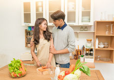 Asian couple cooking Stock Images