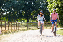 Asian Couple On Cycle Ride In Countryside Royalty Free Stock Image