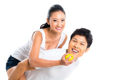 Asian couple eating and living healthy Royalty Free Stock Photography