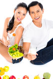 Asian couple eating salad fruit Royalty Free Stock Photography