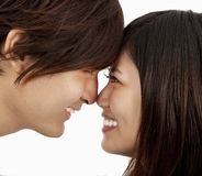 Asian couple face to face Royalty Free Stock Image