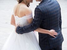 Asian couple are facing each other and embracing Royalty Free Stock Image