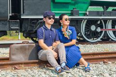 Asian couple groom and bride. Pre wedding portrait with old train background Stock Photography