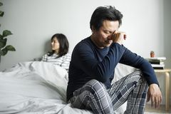 Asian couple have an argument stock image