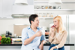 Asian couple having breakfast together Stock Image