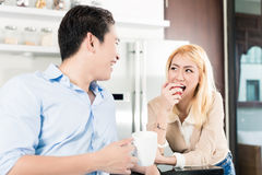 Asian couple having breakfast together Royalty Free Stock Image