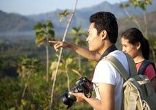 Asian couple hikers Stock Photos