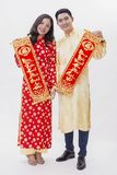 Asian couple holding wishes for new year Stock Image