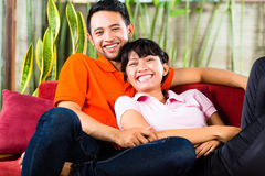 Asian couple at home Stock Photo