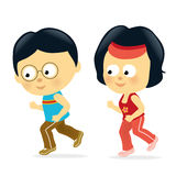 Asian couple jogging Stock Photo