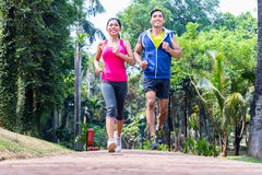 Asian couple jogging or running in park for fitness royalty free stock photo