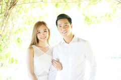 Asian couple in love in highkey Royalty Free Stock Photography