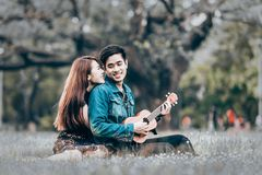 Asian couple in love. Playing acoustic ukulele song sitting on grass in the park Stock Images