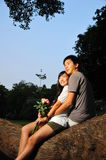 Asian Couple In Love thinking about their future Royalty Free Stock Photo
