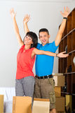 Asian couple moving in the new home Royalty Free Stock Photography