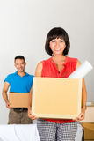 Asian couple moving in the new home Royalty Free Stock Photos