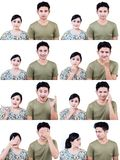 Asian couple multi expression isolated on white Royalty Free Stock Photos