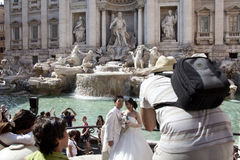 Asian couple newlyweds in Rome Italy Stock Image
