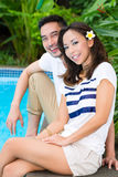 Asian couple outdoor in the garden Stock Image