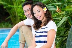 Asian couple outdoor in the garden Stock Photos