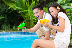 Asian couple outdoor in the garden Royalty Free Stock Images