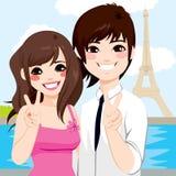 Asian Couple Paris Honeymoon stock illustration