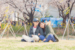 Asian couple in park Royalty Free Stock Image