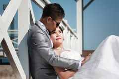 Asian couple photographed before marriage is Pre-wedding on Koh. Si Chang Island Popular locations in the Chonburi province at Thailand Royalty Free Stock Photos