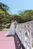 Asian couple photographed before marriage is Pre-wedding on Koh. Si Chang Island Popular locations in the Chonburi province at Thailand Stock Image