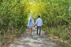 Asian couple photographed before marriage is Pre-wedding on Koh. Si Chang Island Popular locations in the Chonburi province at Thailand Royalty Free Stock Photo