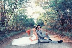 Asian couple photographed before marriage is Pre-wedding on Koh. Si Chang Island Popular locations in the Chonburi province at Thailand Stock Images