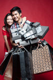 Asian Couple with presents Royalty Free Stock Photography